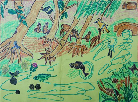 Painting by V. Rajaganapathy (8 years), Satya Bharti Nursery & Primary School, Alampattu, Tamil Nadu (shared on World Environment Day to celebrate biodiversity)