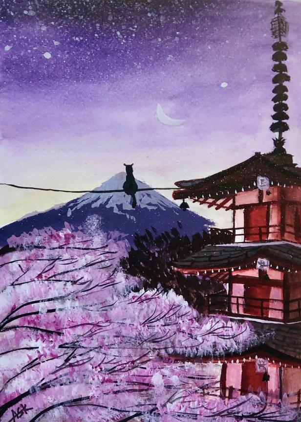 Cherry Blossom at my Fuji, painting by Ashika Kalmady, Udupi, Karnataka