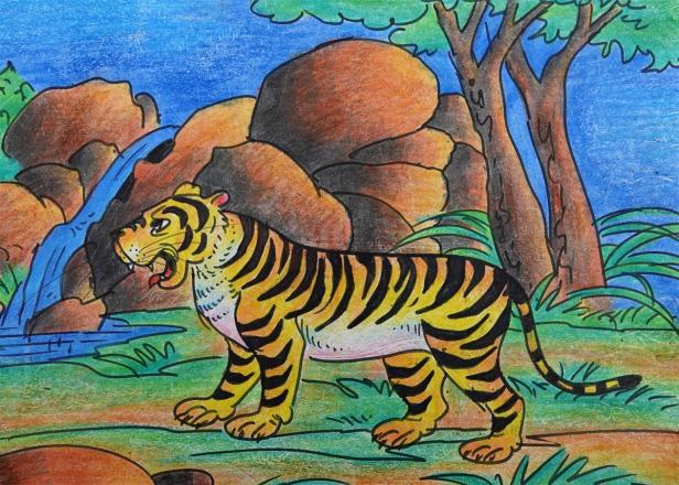 Painting by Chinmay Kumar Mahanta, class 5, Delhi Public School, Nalco Nagar, Odisha - shortlisted in Khula Aasmaan art competition jointly with IISER Pune - being featured to mark International Tiger Da
