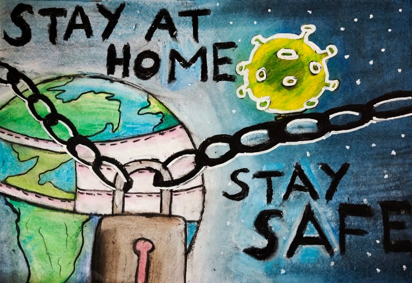 Stay Home, Stay Safe, painting by P. Rishab