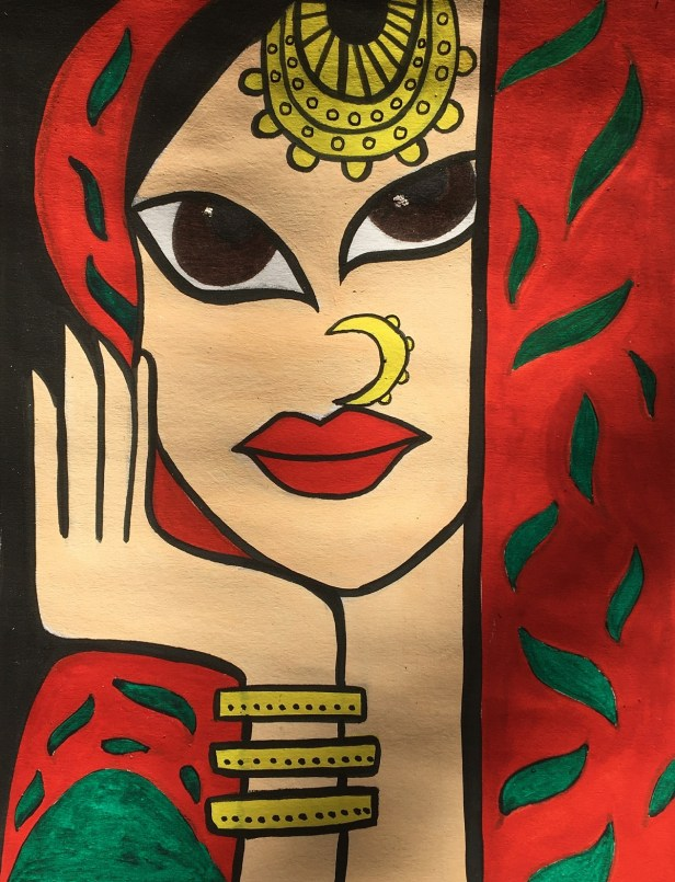 Madhubani painting by Sakshi Uparkar - artwork in lockdown by following stay home, stay safe