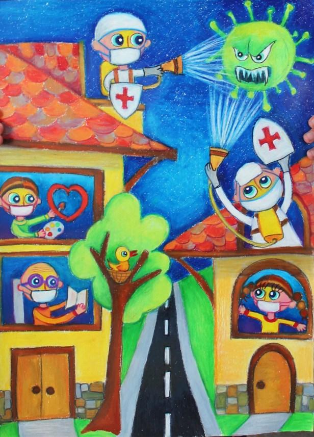Fight against coronavirus, painting by Viara Pencheva, Bulgaria
