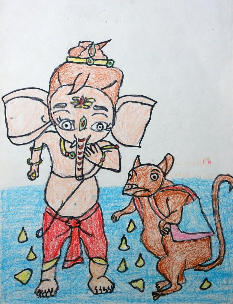 Painting by Aaradhya Lakhan (9 years), Mukul Madhav Vidyalaya, Ratnagiri (Shortlisted in Khula Aasmaan kids drawing contest for July to Sept 17