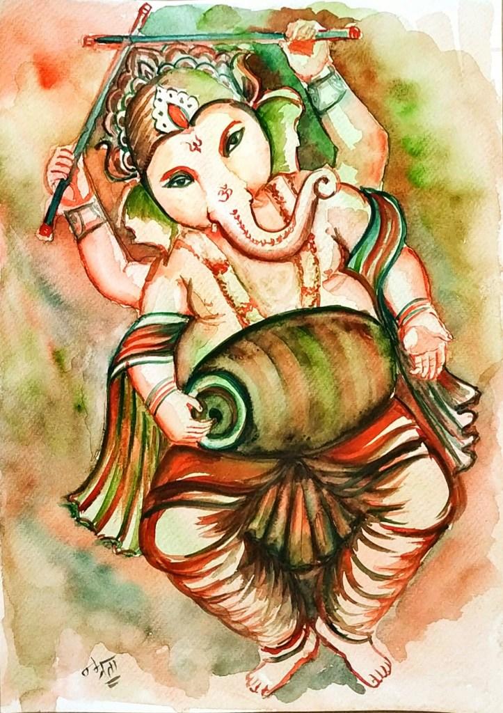 Ganesh Rhythm-Pa by Namrata Bohra - Lord Ganesh painting to mark Ganesh festival