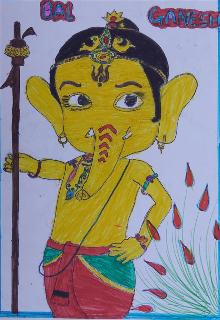 Painting by Jayshree Krushna Maule, Gonde Ashramshala, Dist. Palghar, Maharashtra - Honorable mention in Khula Aasmaan children art contest for July to Sept 2019