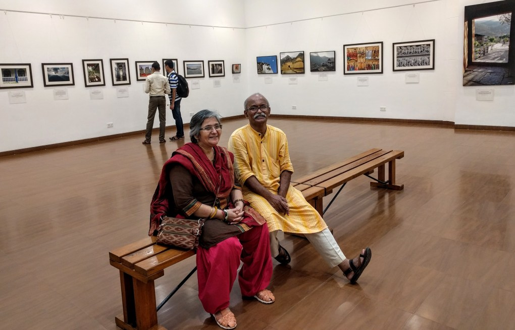 "Artists Kishor and Varsha Randiwe at my show ""My pictures with their little stories"""
