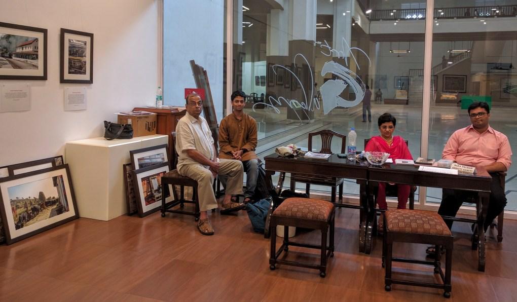 (L to R) Mr. Ramkrishna Telang, Aalok Sathe, Ms. Smita, Jayesh Thakkar at Milind Sathe's solo photography show at Nehru Centre, Worli, Mumbai (August 2016)