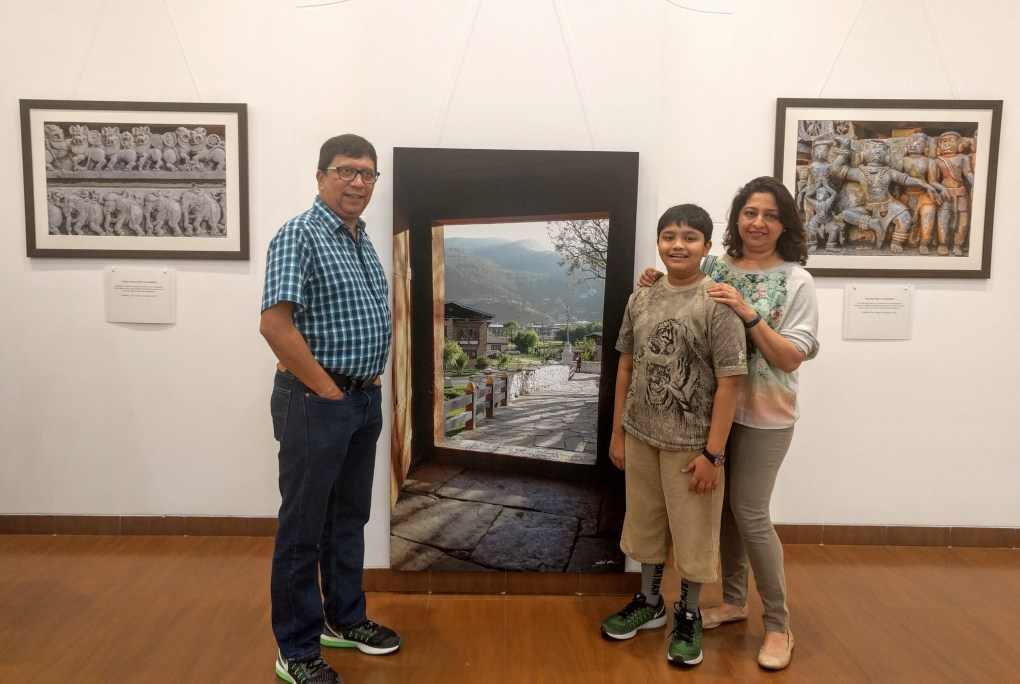 Milind Joshi with family at Milind Sathe's solo photography exhibition at Nehru Centre Mumbai