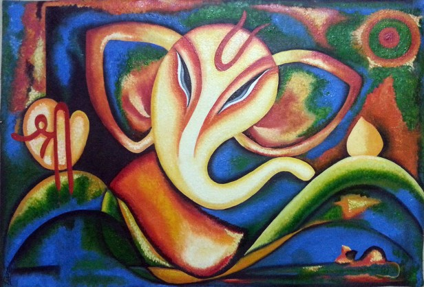 Shree Ganesha by Leena Parekh, Oil on Canvas, 17.5 x 24.5 inches