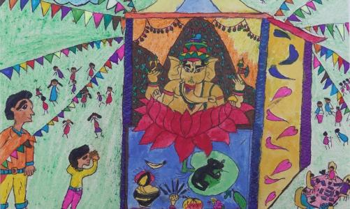 Ganesh paintings by children