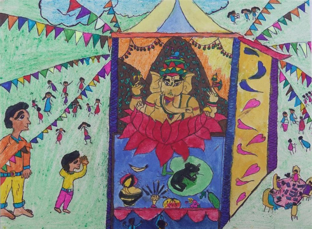 Painting by Suraj Vangad (class 7), Dhamangaon Ashramshala, Dist. Palghar, Maharashtra - Honorable mention in Khula Aasmaan art contest for July to Sept 2019