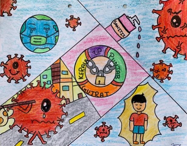 In this Together, painting by Tanya Bansal, class 6, Bhavan Vidyalaya School, Chandigarh