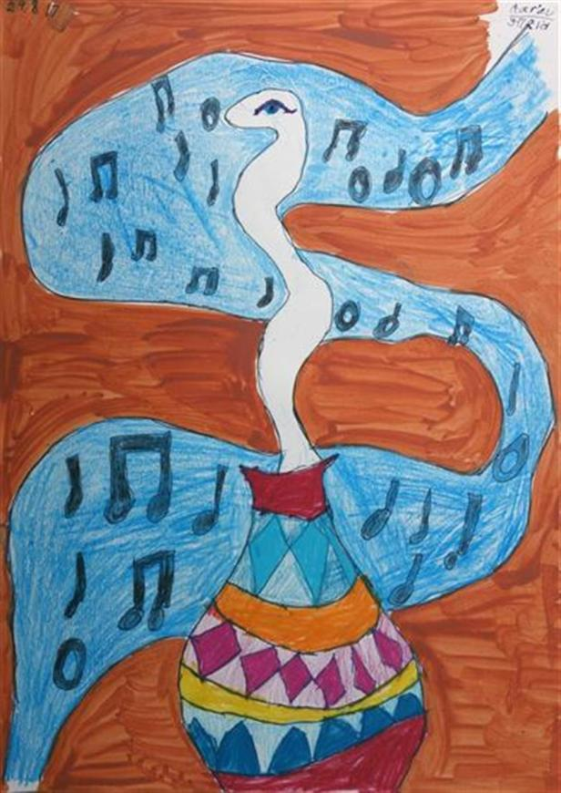 Painting by Aarav Nitesh Shetty (8 years), Mallya Aditi International School, Bangalore - Silver medal in Khula Aasmaan painting competition
