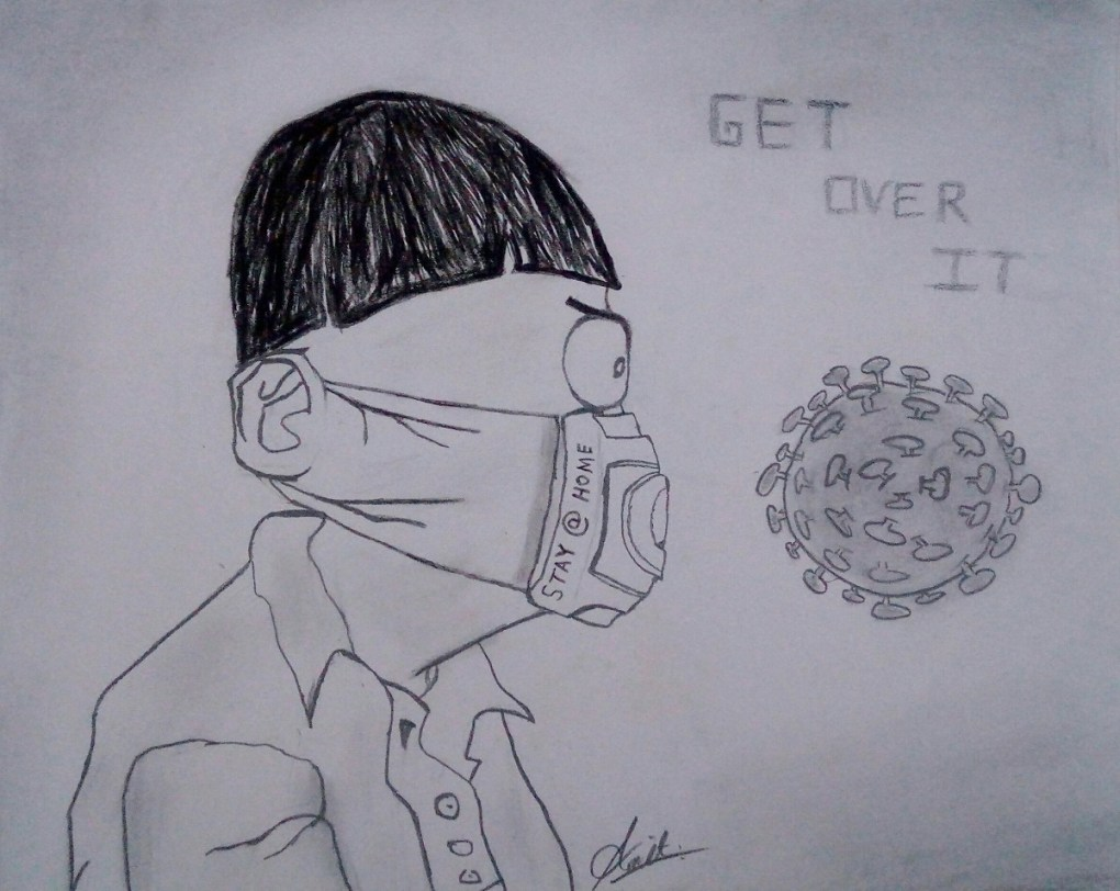Get Over It, artwork by Amit Pol - art in the time of lockdown to fight covid pandemic