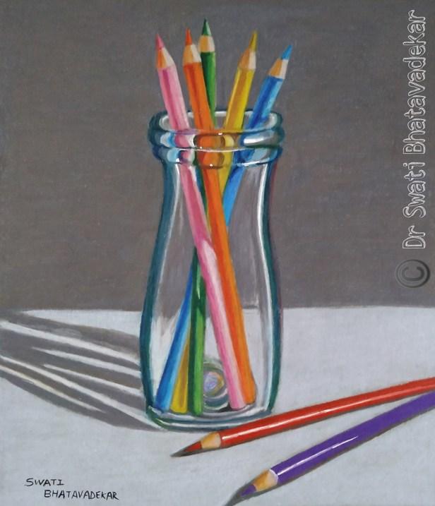 Title : Art is the highest hope, Artist : Dr. Swati Bhatavadekar, Paper :Strathmore, blue toned (300gsm), Materials : Prisma colour pencils