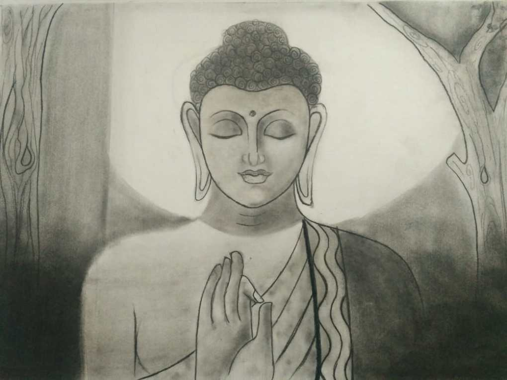 Lord Buddha, pencil sketch by Vani Hirpara (class 9), Surat, Gujarat - Art in Covid-19 pandemic to fight fear and panic