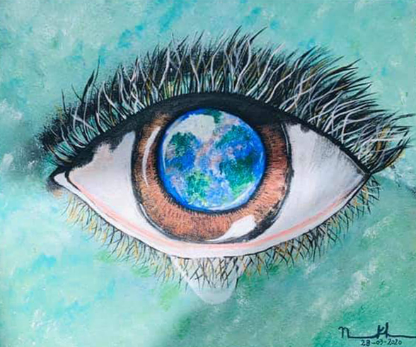 The Earth's Eye, painting by Neha Khan, Acrylic colours on Canvas - art activities during lockdown - art ideas on day 21
