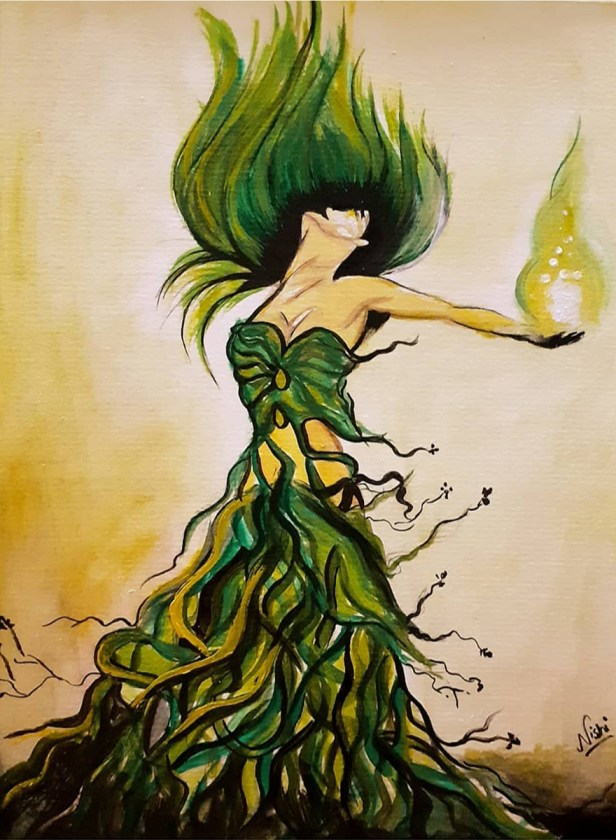 Tree Spirit (Goddess), painting by Nishi verma, Hyderabad - Art in coronavirus lockdown - hope and positivity through creativity