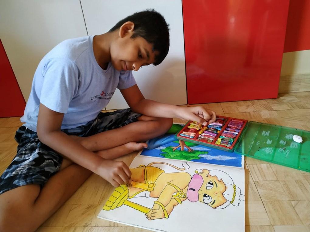 Title : Bal Hanuman, Artist : Om Daphale (class 6), GGPS School, Ratnagiri, Medium : Oil Pastels