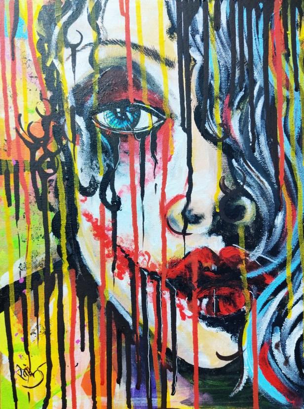 Title: Relating Joker with Indian Women, Artist : Snehanka Walavalkar, Medium: Acrylic on canvas, Size: A2