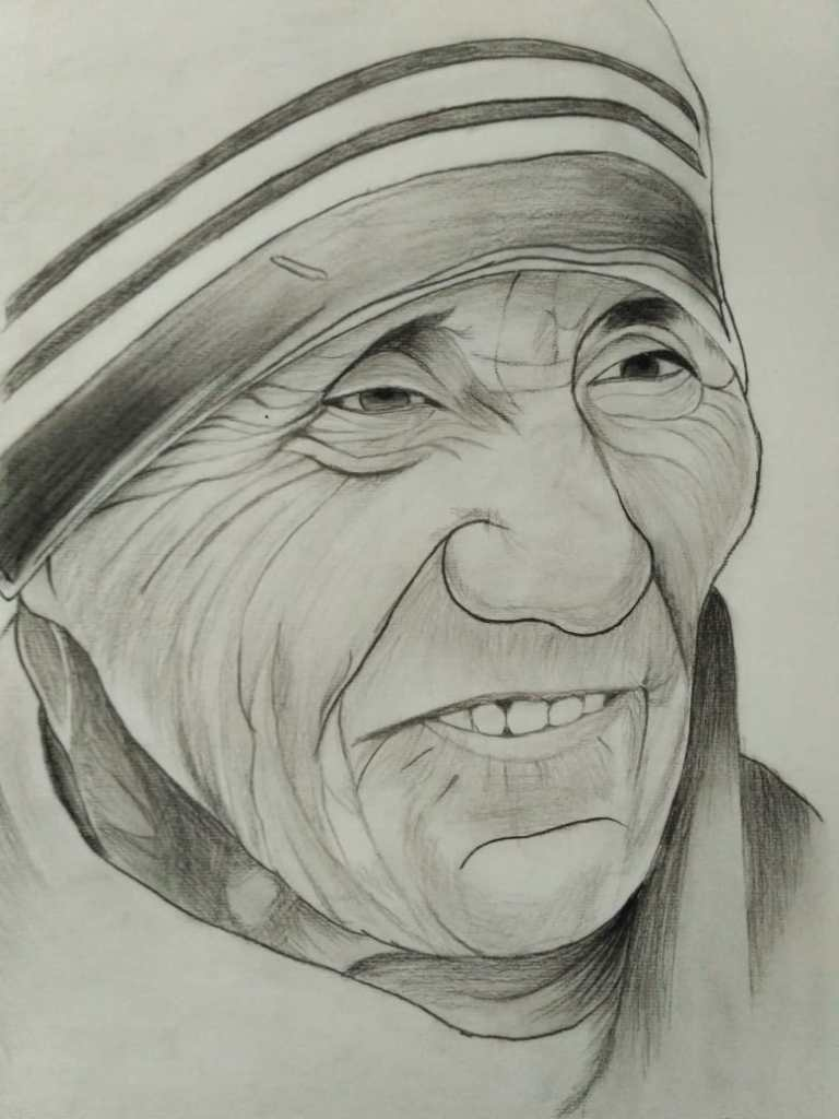 Mother Teresa, pencil sketch byVani Hirpara (class 9) - Art in Covid-19 pandemic to fight fear and panic