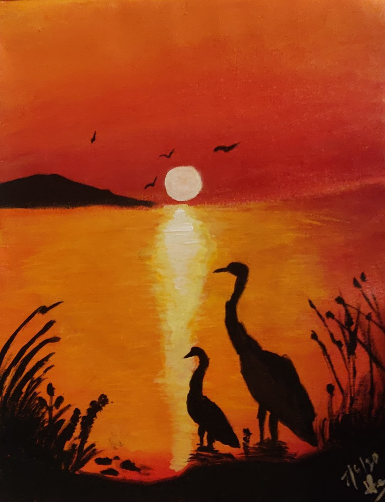 After the sunset, there is a new dawn, painting by Thomas (Vihaan) Cheriyan - activities during lockdown - art ideas on day 21