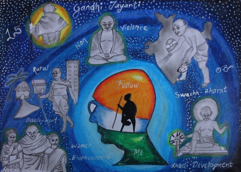 Mahatma Gandhi painting by Abhishek Swami - shortlisted from Khula Aasmaan free online drawing and painting competition