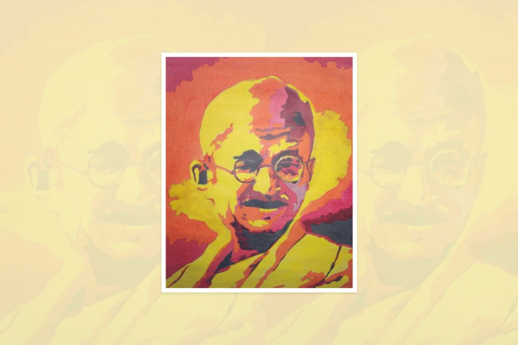 Painting by Aniket Raj, Motihari, Bihar, India - one of the select paintings from the international painting competition - World of Mahatma Gandhi