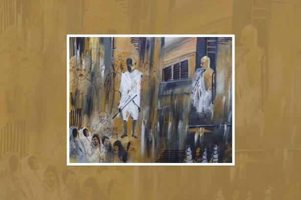 "Painting by Arya Rajesh Poolakanda, Madikeri, Karnataka, India - part of select paintings from the international painting competition ""World of Mahatma Gandhi"""