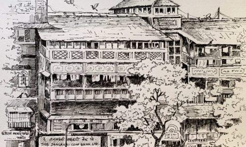 Girgaon sketch of heritage buildings in pen & ink by Chitra Vidya
