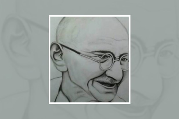 "Artwork by Nirali Jha, Greater Noida, Uttar Pradesh, India - part of select artworks from international art competition ""World of Mahatma Gandhi"""