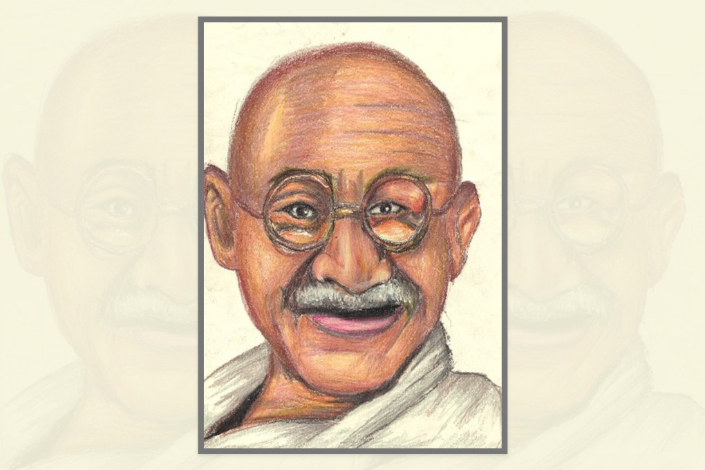 "Artwork by Roshanth Bright, Kanyakumari, Tamil Nadu, India for ""World of Mahatma Gandhi"""