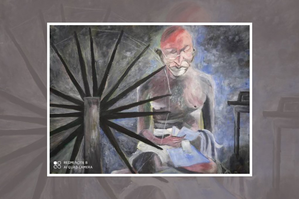 """Painting by Sanjay Kumar Prajapati, Lucknow, Uttar Pradesh, India - part of select paintings from international painting competition """"World of Mahatma Gandhi"""""""