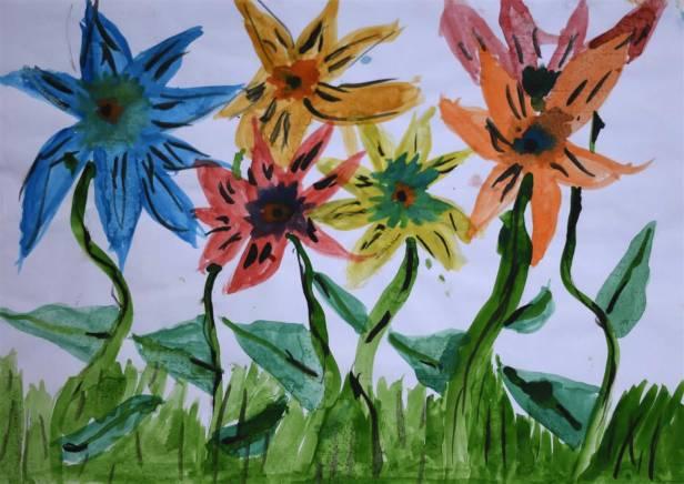 Dancing flowers painting by child artist Arika Goenka