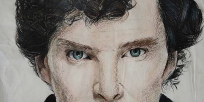 Portrait painting in coloured pencils of Sherlock Homes played by actor Benedict Cumberbatch