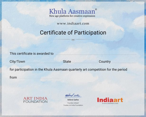 Certificate of Participation format for Khula Aasmaan drawing, painting and art competition