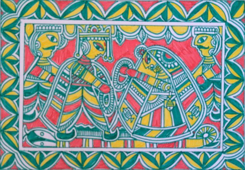 Marriage of Devi Sita, Manjusha painting (folk art of Bihar) by Mukul Kumar - shortlisted from Ramayana art contest by Khula Aasmaan (खुला आसमान)