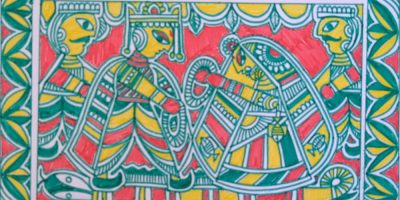 Marriage of Devi Sita, Manjusha painting (folk art of Bihar) by Mukul Kumar - shortlisted from Ramayana art contest by Khula Aasmaan (खुला आसमान)