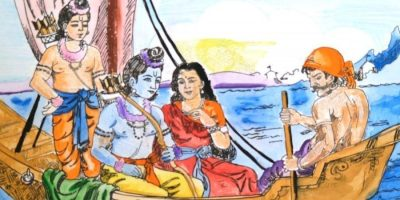 Ramayana river crossing story of Kevat crossing river with Rama, Sita and Lakshman