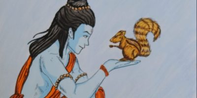 Rama and squirrel painting from Ramayana shortlisted from ramayana art contest by Khula Aasmaan