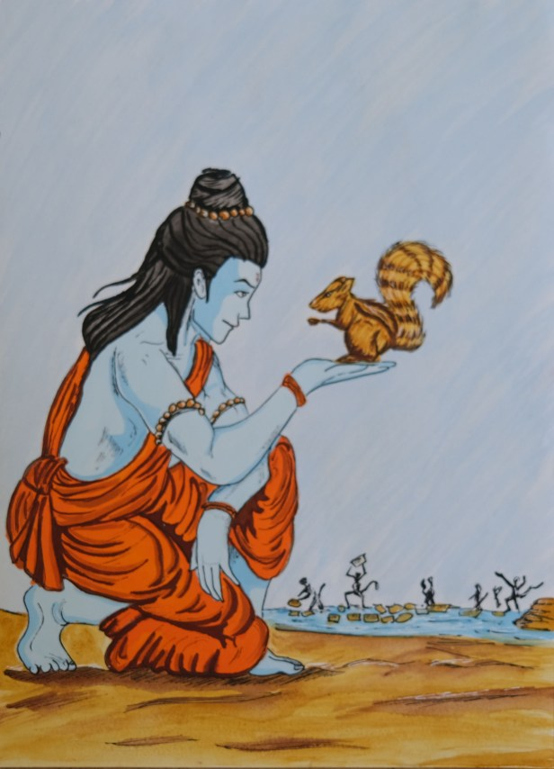 Rama and squirrel painting from Ramayana was shortlisted from ramayana online art competition by Khula Aasmaan