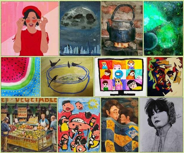 shortlisted artworks from Khula Aasmaan international online art contest shortlist