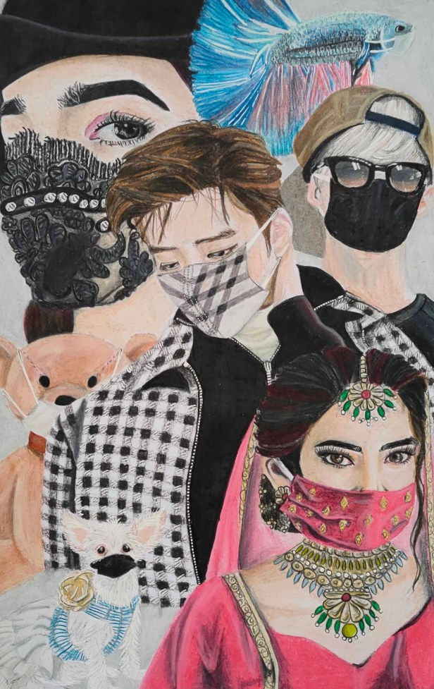 Honorable mention for painting by Dharitha Surgi (19 years) in Khula Aasmaan international online painting competition