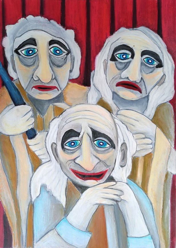 Actors, painting by Viara Pencheva (11 years), Gabrovo, Bulgaria, won a gold medal in Khula Aasmaan international online art contest