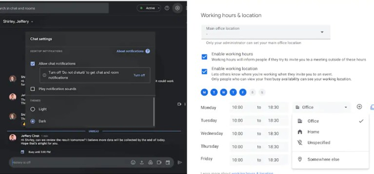Google Chat for Web Gets Dark Mode, Google Calendar to Allow Adding Work Location