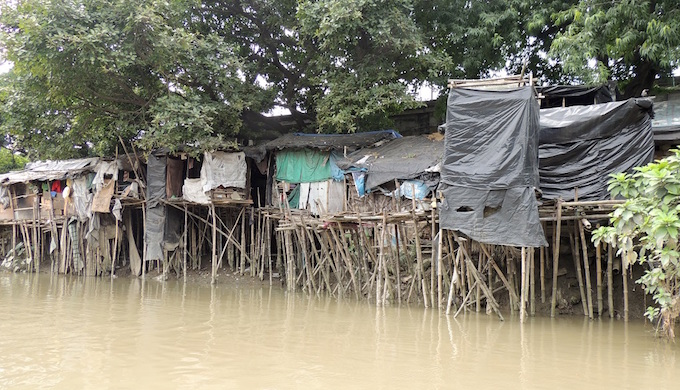 Illegal structures at the Kalighat stretch of the Adi Ganga.