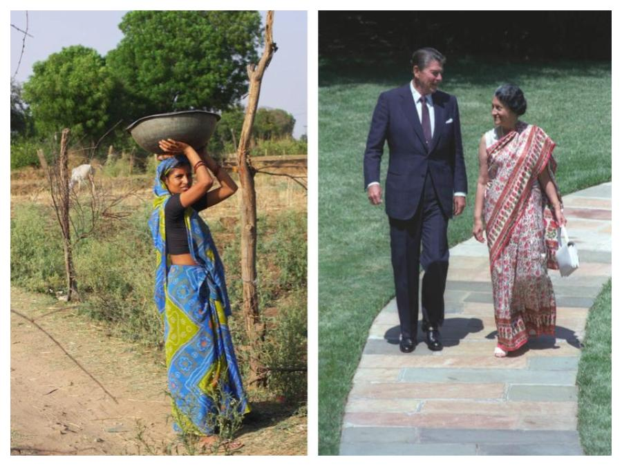 On the left a village woman dons a traditional saree, on the right then Prime Minister, Indira Gandhi, dons a much more tailored and formal saree