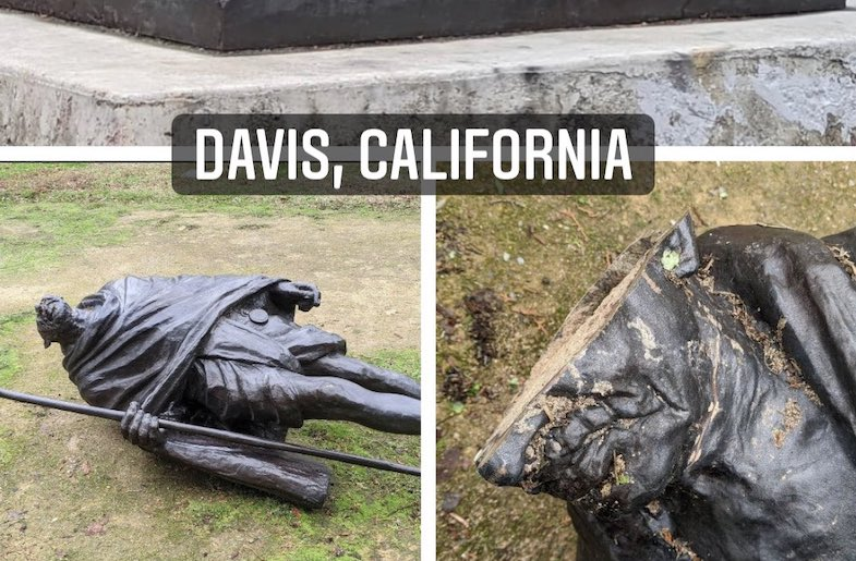 Davis California Rallies to Reinstate Vandalized Gandhi Statue