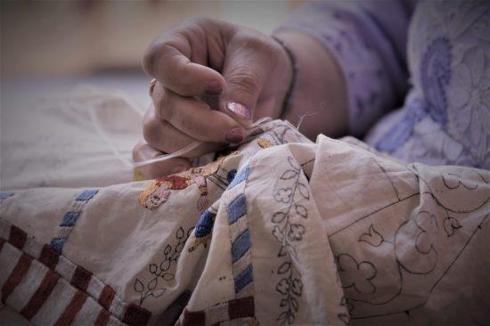 Chamba Rumal embroidery process (Image provided by Suman Bajpai)