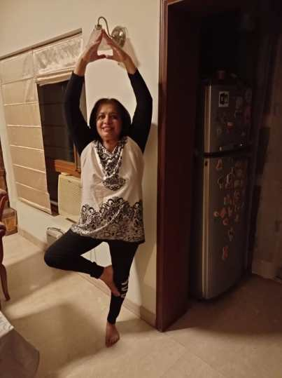 Poonam Kirpal practicing prayanam in her home (Image provided by Author)